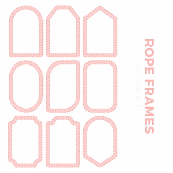 Set of blank gift tag labels for sale prices with rope outline. rope frame stickers of different round, square, rectangular other shapes