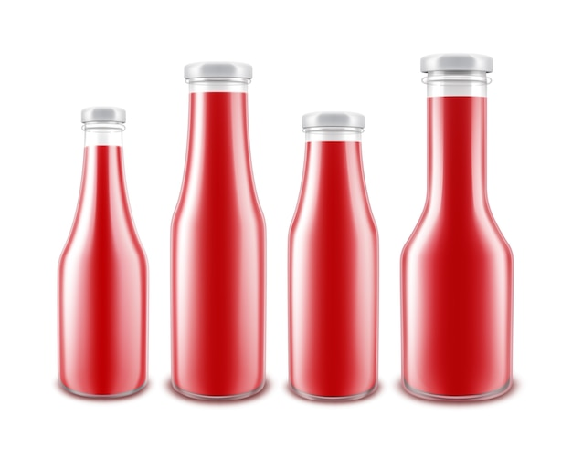 Set of blank glass glossy red tomato ketchup bottle of different shapes for branding without label isolated on white background
