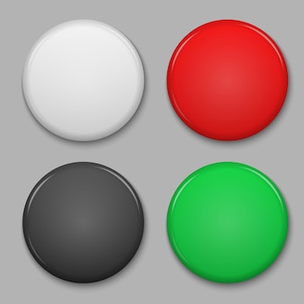 Set of blank glossy badge or web button.