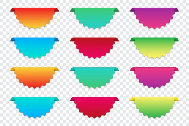 Set of blank gradient infographics banners.