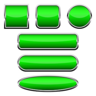 Set of blank green glossy buttons