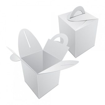 Set of blank kraft paper gift box . white container with handle.  gift box template, cardboard package