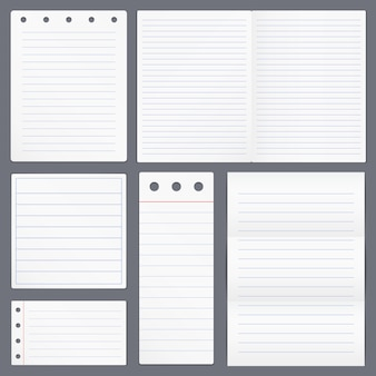 Set of blank lined paper