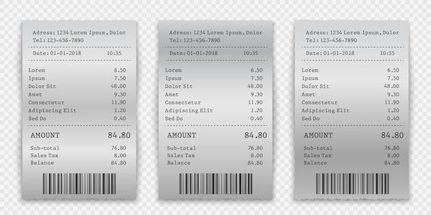 Установите пустой бумажный чек, квитанцию о продаже или шаблон счета
