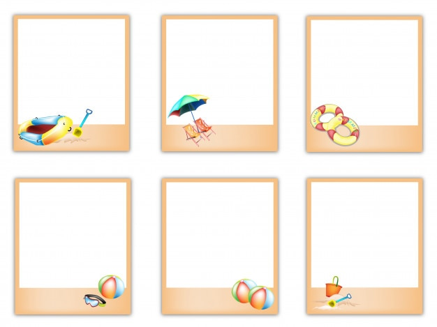 Set of blank photos with beach item pictures