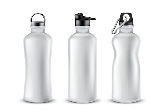 Set of blank plastic bottles with lids for drinks, isolated on background.