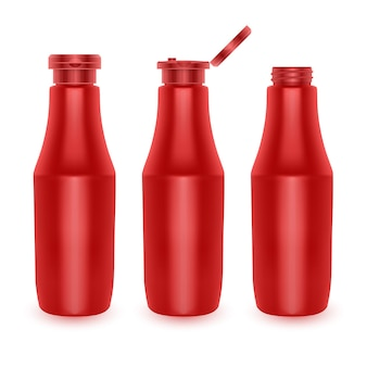 Set of blank plastic red tomato ketchup bottles