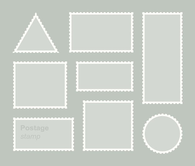 Set blank postage stamp.toothed border mailing postal sticker template.