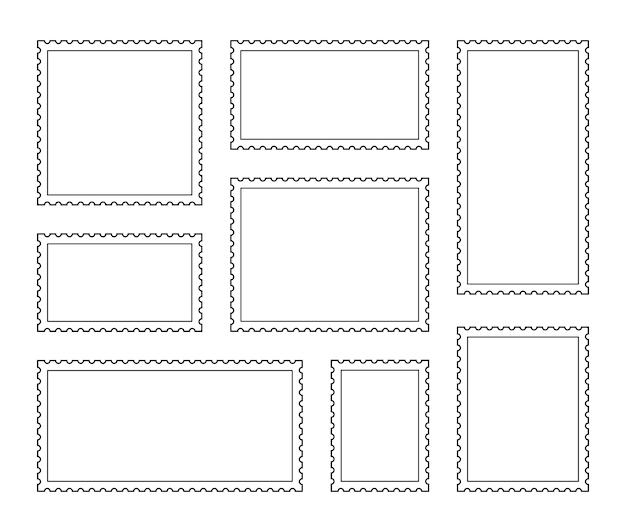 Set blank postage stamp. vintage frames. toothed border mailing postal sticker template. vector graphic design