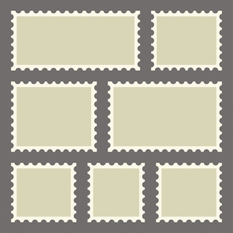 Set of blank postage stamps of different sizes.  illustration