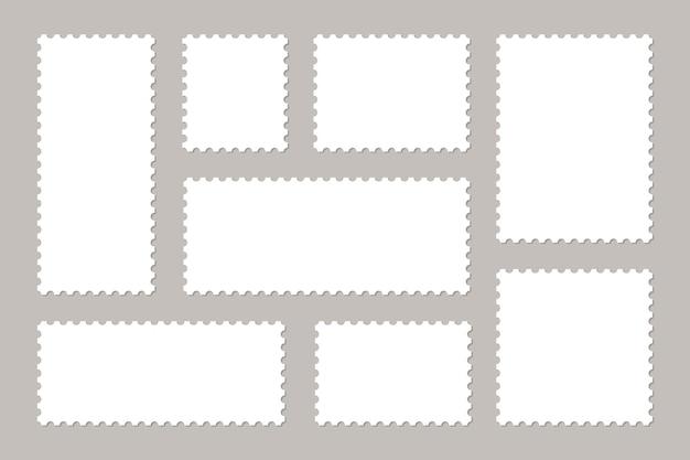 Set of blank postage stamps. frames of postage stamps for mail envelopes.