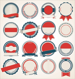 Set blank retro vintage badges collection