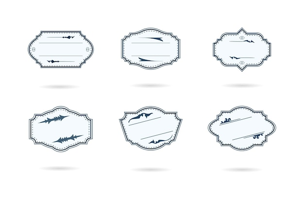 Set of blank retro vintage badges and labels on a white illustration