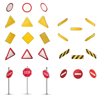 Set of blank road sign