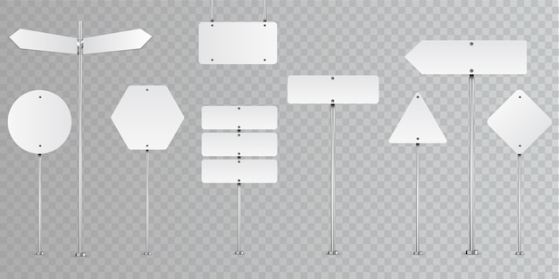 Set of blank road signs isolated on transparent.
