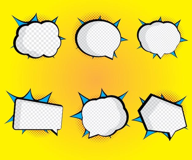 Set of blank speech bubble pop art