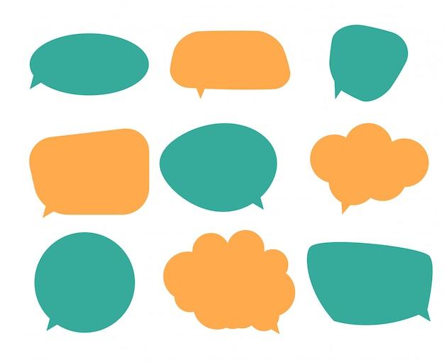 Set of blank speech bubbles, thinking balloon set on white background.