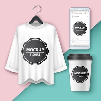 Set blank t-shirt, smartphone, cup coffe tea