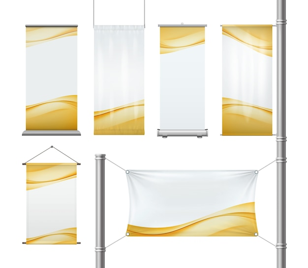 Set of blank textile or paper advertising roll-up