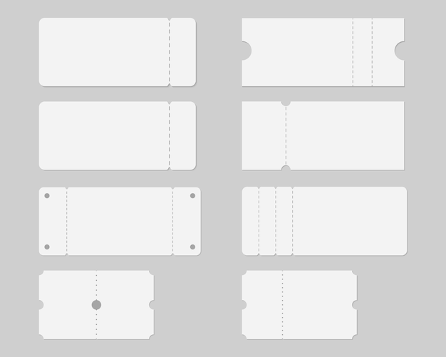 Set of blank ticket mockup template. concert, party, festival, lottery or coupon ticket.