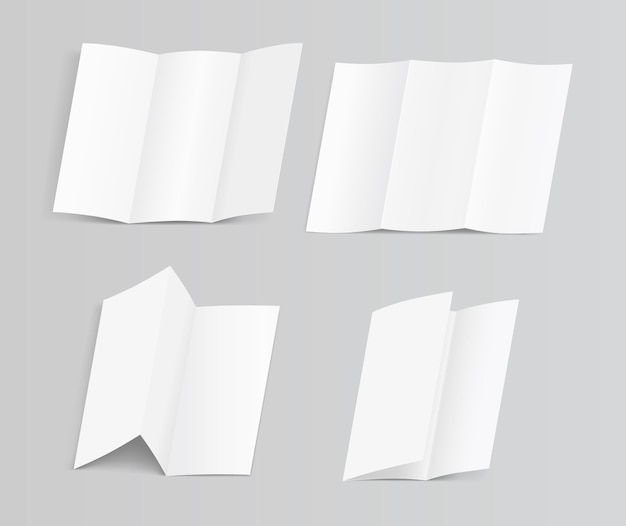Set of blank trifold paper brochure illustration