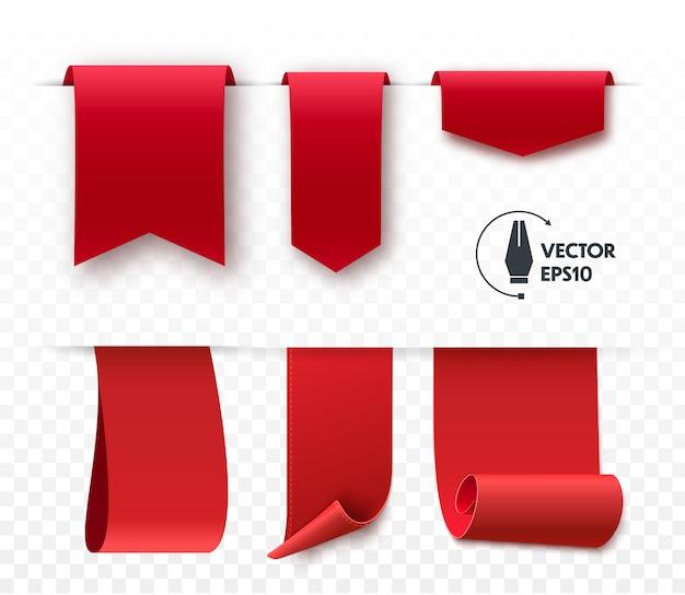 Set of blank vector corner ribbons.