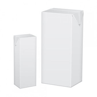 Set of blank white cardboard package for beverage, juice, milk or yogurt