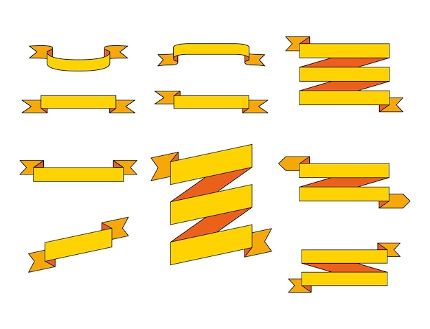 Set of blank yellow cartoon ribbons