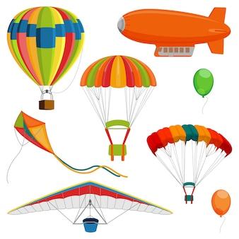 Set of blimp, paraglider and kite, air balloon and parachutes