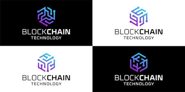 Set of blockchain network technology bundle logo design inspirations template