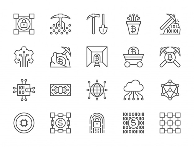 Set of blockchain technology icons