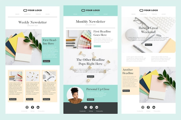 Set of blogger e-mail template