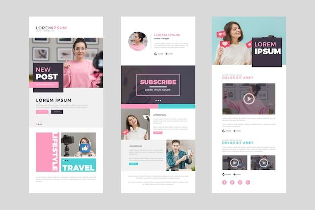 Set di modello di posta elettronica di blogger con foto
