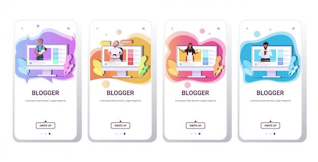 Набор блогеров, записывающих онлайн видео микс гонки vloggers делать трансляции в прямом эфире социальные сети блогов концепция смартфонов экраны коллекции горизонтальное копирование пространство
