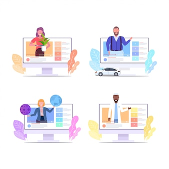 라이브 스트리밍 방송 소셜 미디어 네트워킹 블로그 개념 모니터 화면 수집을 수행하는 온라인 비디오 블로거를 기록하는 블로거를 설정