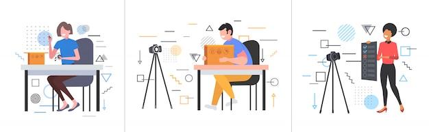 三脚のライブストリーミングブロードキャストソーシャルメディアネットワーキングブログコンセプトコレクション水平完全な長さのカメラでオンラインビデオを記録するブロガーを設定します。