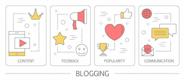 Set of blogging vertical banners. share content in the internet. idea of social media and network. feedback, communication and popularity.    illustration