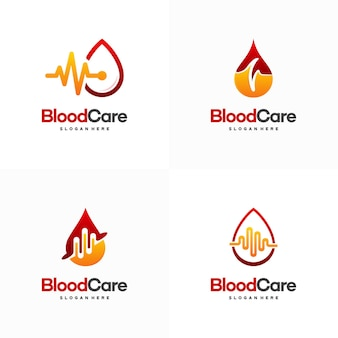 Set of blood care logo designs, blood with pulse symbol icon vector