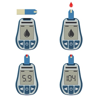 Set blood glucose meters and blood drop. blood sugar level testing, treatment, monitoring and diagnosis of diabetes concept. icon in flat style. isolated vector illustration