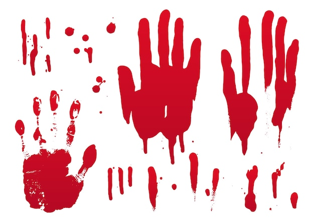 Set of blood and hand