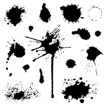 Set of blots and stains isolated on white