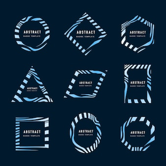 Set of blue abstract badge template vectors