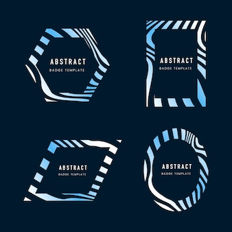 Set of blue abstract badge template