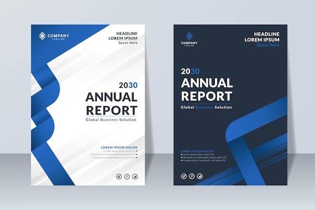 Set of blue annual report design template