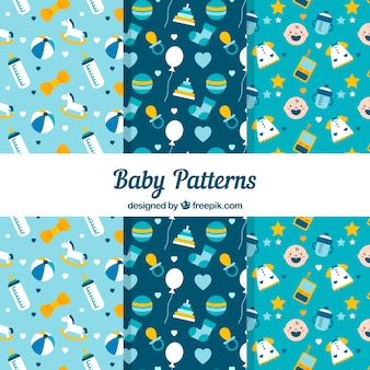 Set of blue baby patterns Free Vector
