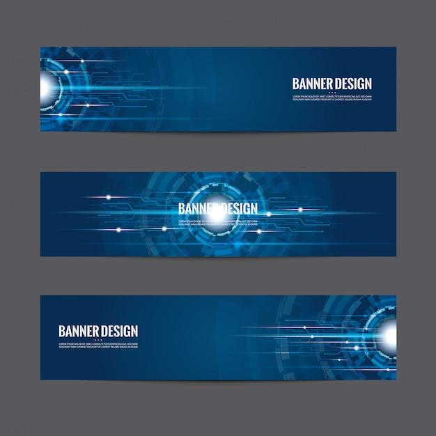 Set of blue banner design