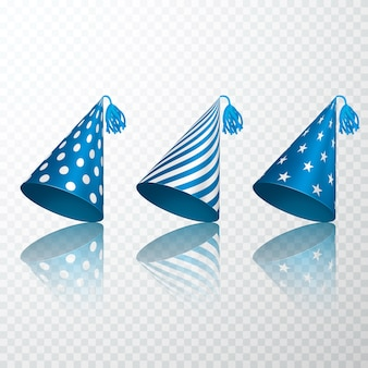 Set of blue birthday hat