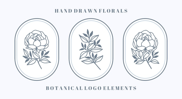Set of blue botanical peony flower and leaf element for feminine beauty logo and brand