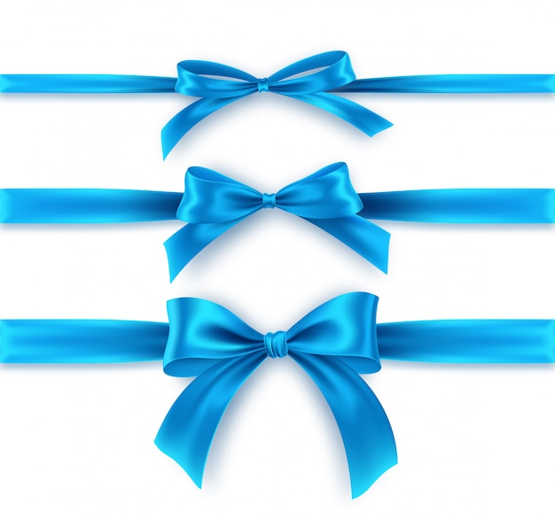 Set blue bow and ribbon on white background. realistic blue bow.