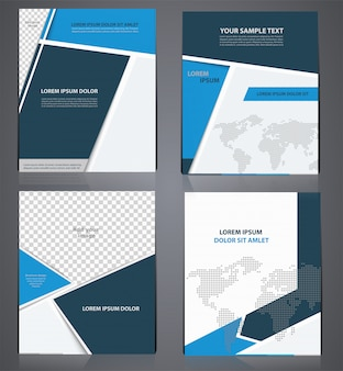 Set of blue business brochures  in one style with pixel world map,  flyer design template in a4 size, or magazine cover